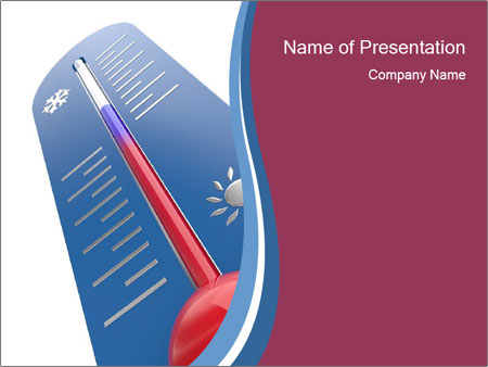 Blue Thermometer Powerpoint Template Backgrounds Google Slides