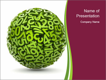 Symbolic Green Numbers Sphere PowerPoint Template