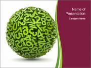 Symbolic Green Numbers Sphere PowerPoint Templates