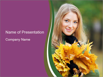 Cute Girl With Autumn Leaves Bunch PowerPoint Template