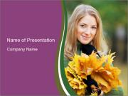 Cute Girl With Autumn Leaves Bunch PowerPoint Templates