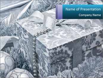 Silver Box with Christmas Gift PowerPoint Template