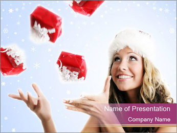 Falling Gifts For Christmas Holidays PowerPoint Template
