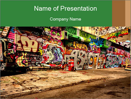 Graffiti on ruined building powerpoint template backgrounds id graffiti on ruined building powerpoint template toneelgroepblik Image collections
