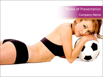 Woman in Black Underwear Holding Football PowerPoint Template db815946a