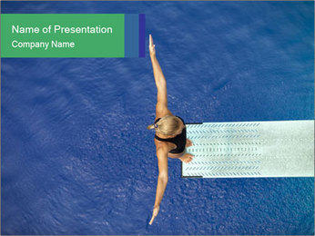 Professional Swimmer on Diving Board PowerPoint Template