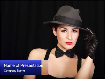 Lady in Male Black Hat and Bow Tie PowerPoint Template