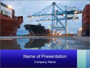 Cargo Ships in Port at Night PowerPoint Templates