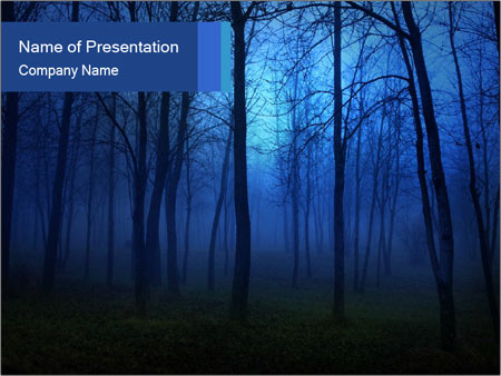 scary foggy forest powerpoint template & backgrounds id 0000017999, Modern powerpoint