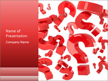 Red-Colored Question Signs PowerPoint Template