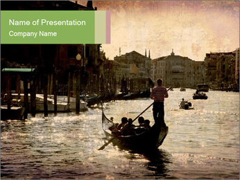 Evening Grand Canal in Venice PowerPoint Template