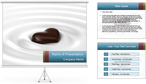chocolate heart dessert powerpoint template backgrounds id 0000018087. Black Bedroom Furniture Sets. Home Design Ideas