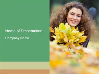 Young Lady with Yellow Leaves PowerPoint Template