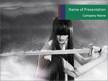 Warrior Girl with Sword PowerPoint Template