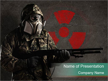 Soldier in Gas Mask with Red Radioactive Sign PowerPoint Template