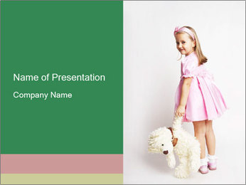 Cute Girl with Teddy Bear PowerPoint Template