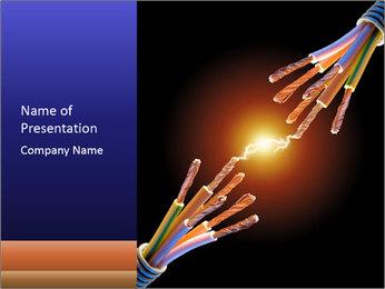 Electric Lighting Between Two Robots' Hands PowerPoint Template
