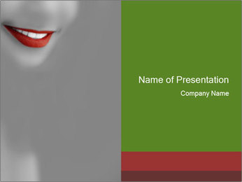 Red Woman's Lips PowerPoint Template