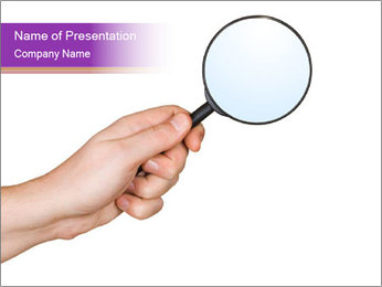 Holding Magnifying Glass PowerPoint Template
