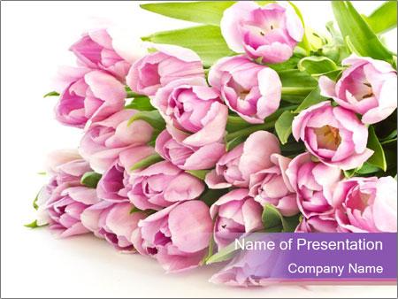 Romantic Lilac Tulips Bouquet Powerpoint Template Backgrounds