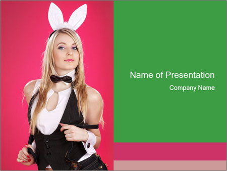 Playboy Woman In Sexy Rabbit Costume PowerPoint Template