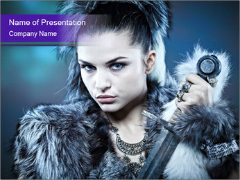Warrior Woman Fashion Shooting PowerPoint Template