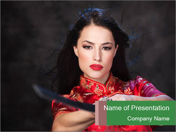 Pretty Woman in Kimono with Sword PowerPoint Template