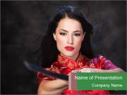 Pretty Woman in Kimono with Sword PowerPoint Templates