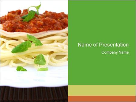 italian traditional pasta with basil powerpoint template, Modern powerpoint