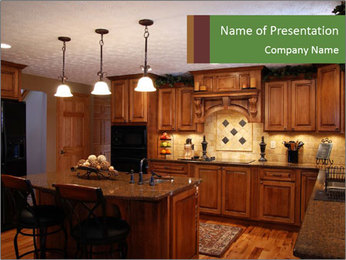 Wooden Kitchen Interior PowerPoint Template