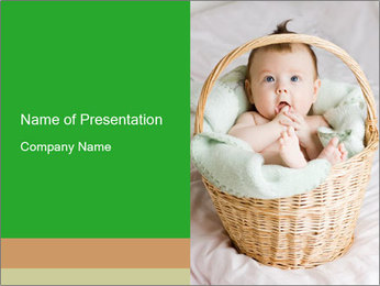 Cute Baby Lying in a Basket PowerPoint Template
