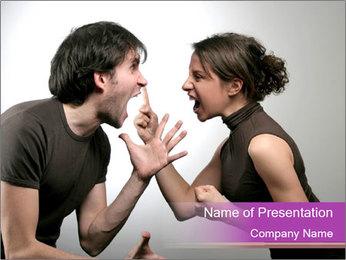 Love Couple Quarreling PowerPoint Template