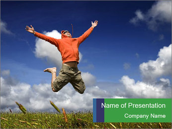 Man Jumping on Green Meadow PowerPoint Template
