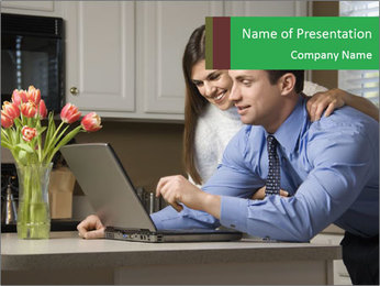 Wife and Husband Using Laptop PowerPoint Template
