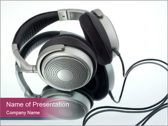 Big Silver Headphones PowerPoint Template