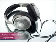 Big Silver Headphones PowerPoint Templates
