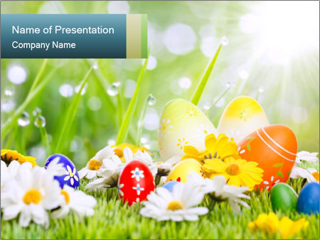 Easter Eggs in Spring Sunlight PowerPoint Template, Backgrounds ...