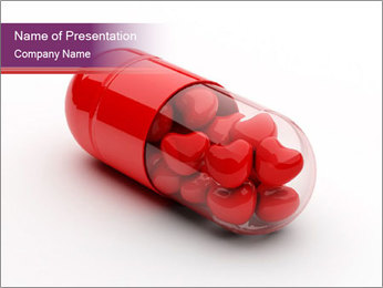 Pill Filled with Red Hearts Inside PowerPoint Template