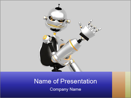 alive cyborg robot powerpoint template & backgrounds id 0000018697, Powerpoint templates