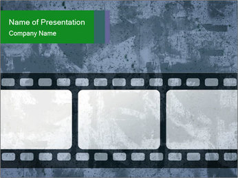 Film Negative on Grey Background PowerPoint Template