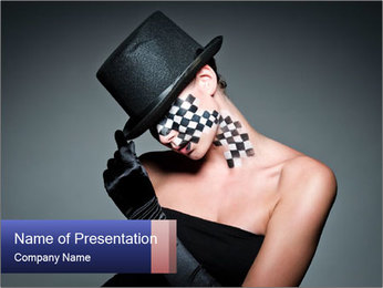 Woman in Creative Chess Make-Up PowerPoint Template