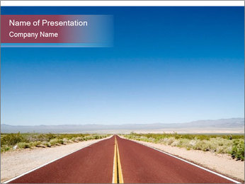 Empty Long Road in California PowerPoint Template