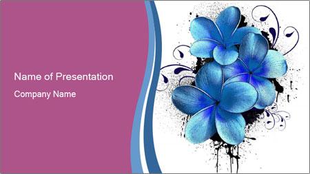 Blue Flower Decoration Powerpoint Template Backgrounds Google