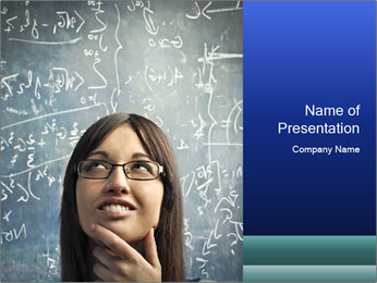 Smart Young Woman with Blackboard behind PowerPoint Template