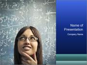 Smart Young Woman with Blackboard behind PowerPoint Templates