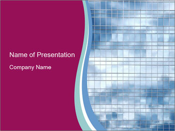 Cloudy Sky Reflection from Glass Building PowerPoint Template