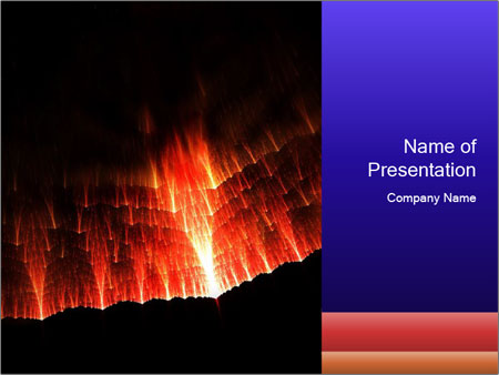 erupting volcanoes powerpoint template & backgrounds id 0000018908, Modern powerpoint