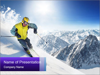 Skier High in Mountains PowerPoint Template