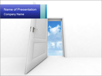 Opened White Door to Blue Sky PowerPoint Template