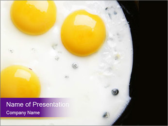 Three Tasty Fried Eggs for Breakfast PowerPoint Template
